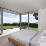Master bedroom, minimalist, floor-to-ceiling glass doors architecture, bedroom, daylighting, estate, home, house, interior design, property, real estate, window, gray