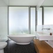 bathroom, small square black tiles, vanity, cantilevered storage, architecture, bathroom, bathtub, daylighting, floor, glass, interior design, plumbing fixture, product design, room, tap, window, gray