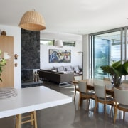 kitchen and dining area, flow to outside, white interior design, living room, property, real estate, white