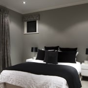 Bedroom with grey walls, white bedspread and black bed frame, bedroom, ceiling, floor, furniture, home, interior design, real estate, room, wall, window, gray, black
