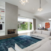 Lounge with white couches and blue floor matt, ceiling, home, interior design, living room, property, real estate, room, gray