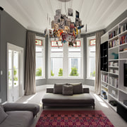 Interior designer Sonya Cotter chose a deep gray ceiling, home, interior design, living room, room, window, gray