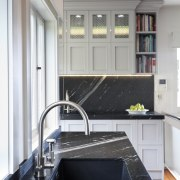 kitchen sink built into granite benchtop, white cabinets countertop, interior design, kitchen, room, gray, black