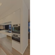 A close up view of a open plan interior design, kitchen, property, real estate, white, brown