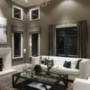 Lounge with white couches and black coffee table ceiling, home, interior design, living room, room, window, gray, black