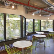 Interior with green wire seats and round tables. home, interior design, real estate, table, window