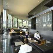Seating area with black seats. - Seating area furniture, interior design, lobby, restaurant, black, gray