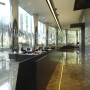 Walkway with black divider. - Walkway with black architecture, daylighting, glass, interior design, lobby, tourist attraction, brown
