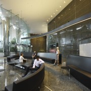 Seating area with black divider. - Seating area architecture, ceiling, interior design, lobby