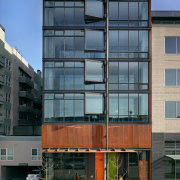 Exteror from street with glass windows. - Exteror apartment, architecture, building, commercial building, condominium, corporate headquarters, elevation, facade, headquarters, home, house, metropolitan area, mixed use, neighbourhood, real estate, residential area, window, black, teal, gray