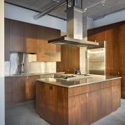 Contemporary kitchen with wooden cabinetry and range cabinetry, countertop, cuisine classique, interior design, kitchen, brown, gray