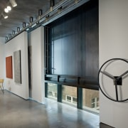 Interior with white walls and art. - Interior floor, interior design, loft, gray