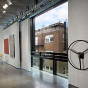 Interior with white walls and art. - Interior interior design, loft, gray