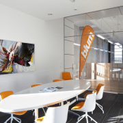 Boardroom with white table and orange seats. - interior design, product design, table, white, gray