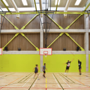 Indoor basketball court with lime wall. - Indoor basketball court, leisure, leisure centre, line, net, sport venue, sports, structure, yellow, brown