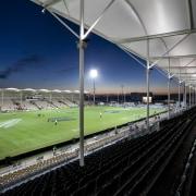 Stadium at night. - Stadium at night. - arena, atmosphere, grass, line, sky, soccer specific stadium, sport venue, stadium, structure, track, black, gray
