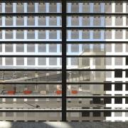 View from inside of squares making up exterior apartment, architecture, building, city, condominium, facade, line, metropolis, metropolitan area, residential area, tower block, urban area, window, black, white, gray