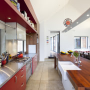 view down galley-style kitchen - view down galley-style apartment, architecture, ceiling, countertop, house, interior design, kitchen, real estate, room, white