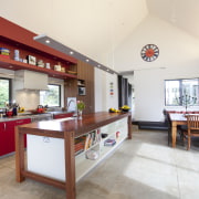 This home was painted with Resene Pohutukawa red, interior design, kitchen, property, real estate, white