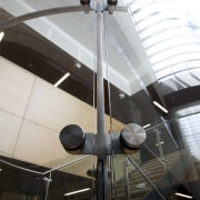 Curved glass of balustrade. - Curved glass of architecture, ceiling, daylighting, tourist attraction, black, white
