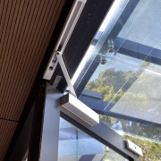 Close up of door opening system. - Close architecture, building, daylighting, facade, glass, house, line, roof, structure, window