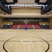 Indoor court with black lines. - Indoor court arena, basketball court, floor, flooring, hardwood, leisure centre, sport venue, sports, stadium, structure, wood, orange, gray