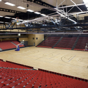 Indoor court with black lines and red seats. arena, auditorium, basketball court, flooring, leisure centre, sport venue, sports, stadium, structure, black
