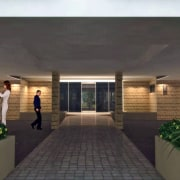 Entry with paved path and planter boxes. - condominium, estate, home, house, interior design, property, real estate, black