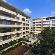 Exterior of apartment and courtyard. - Exterior of apartment, building, condominium, estate, facade, mixed use, neighbourhood, property, real estate, residential area