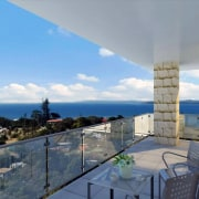Balcony with view to sea. - Balcony with apartment, condominium, estate, home, penthouse apartment, property, real estate, roof, sea, sky, villa, gray