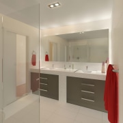 bathroom with grey drawers and orange towel. - architecture, bathroom, floor, home, interior design, property, real estate, room, gray
