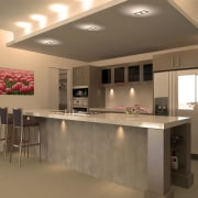 Kitchen with cream colour scheme and painting of cabinetry, ceiling, countertop, floor, flooring, interior design, kitchen, real estate, room, brown