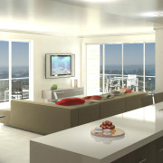 Kitchen with white topped island and lounge with interior design, kitchen, real estate, window, white, gray