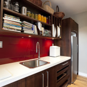 dark wooden cabinetry, white countertop, red splashback cabinetry, countertop, cuisine classique, interior design, kitchen, room, shelf, wood, red, gray