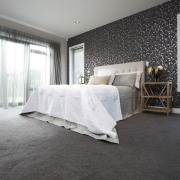 grey carpet, white bed linen, dark patterned wallpaper architecture, bed, bed frame, bed sheet, bedroom, ceiling, daylighting, floor, flooring, furniture, home, house, interior design, mattress, room, wall, window, wood, gray, black