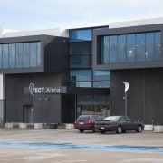 TECT Arena buiding with dark grey cladding. - architecture, building, commercial building, corporate headquarters, facade, real estate, gray, black, white