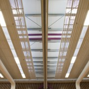 View of ceiling - View of ceiling - architecture, beam, ceiling, daylighting, interior design, line, roof, structure, window, wood, brown