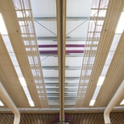 View of ceiling. - View of ceiling. - architecture, beam, ceiling, daylighting, glass, interior design, line, roof, structure, window, wood, brown