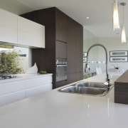 light colours broken up by dark wood and architecture, countertop, house, interior design, kitchen, real estate, gray