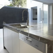 Grey and brown marble island benchtop, white walls, countertop, interior design, kitchen, gray