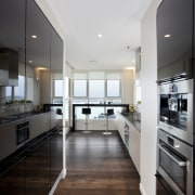 new kitchen view from other end towards bar cabinetry, ceiling, countertop, cuisine classique, floor, flooring, hardwood, interior design, kitchen, laminate flooring, real estate, room, wood flooring, gray
