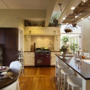 dining table on left, island on right, cooker countertop, home, interior design, kitchen, brown