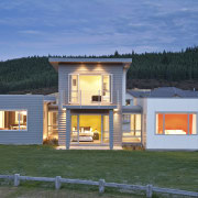 rear of house at night - rear of cottage, elevation, facade, home, house, property, real estate, teal
