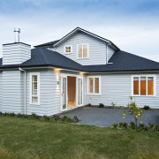 house exterior back - house exterior back - cottage, elevation, estate, facade, farmhouse, home, house, property, real estate, residential area, roof, siding, window, white, brown