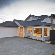 driveway and garage - driveway and garage - cottage, elevation, estate, facade, home, house, property, real estate, residential area, siding, gray