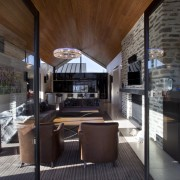 pointed timber roof, dark coloured fabrics in living interior design, real estate, black, gray