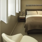 Swiveling panels allow natural light from the full-height bed frame, bedroom, floor, flooring, furniture, home, interior design, product design, room, suite, brown