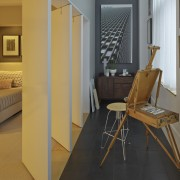 Swivelling panels allow natural light from the full-height apartment, architecture, door, floor, flooring, furniture, hardwood, home, interior design, laminate flooring, property, real estate, room, table, wall, window, wood, wood flooring, gray, orange