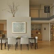 Owner-architect David Hacin teamed wood with metal and architecture, ceiling, dining room, floor, flooring, furniture, hardwood, interior design, living room, room, table, window, wood flooring, brown, orange