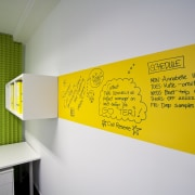 room featuring green and yellow walls and white interior design, product design, wall, yellow, gray
